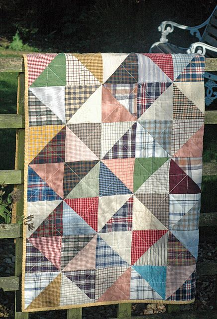 Old shirt quilt - great for boys...or maybe a good use for old work shirts.