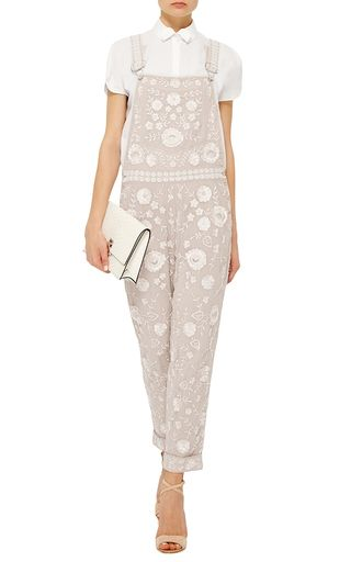 Rose Beige Floral Lace Dungarees  by NEEDLE & THREAD Now Available on Moda Operandi