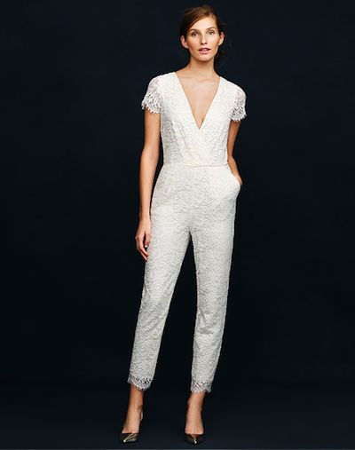 J.Crew's Eyelash Lace bridal jumpsuit, available now for pre-order at jcrew.com.  Done and done!