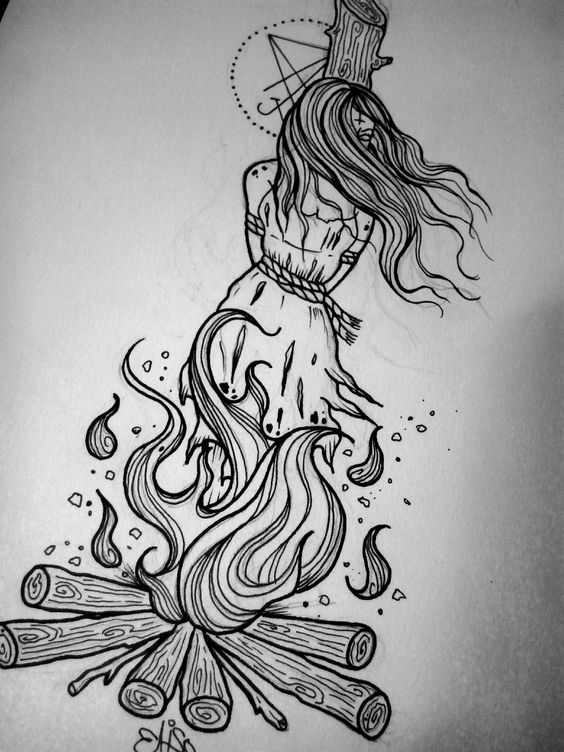 Line Drawing Of Witches Face : Burning witch drawing google search art