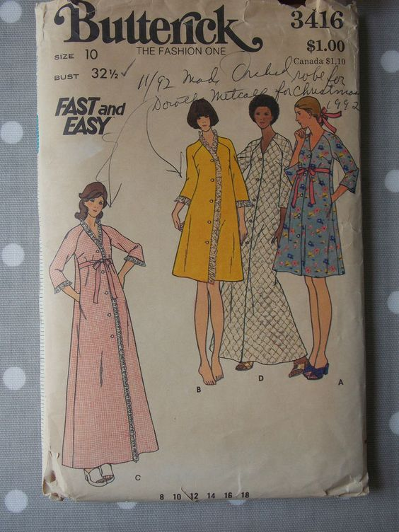 70s Vtg Sewing Pattern Night Robe Dressing Gown Butterick 3416 Bust 32.5