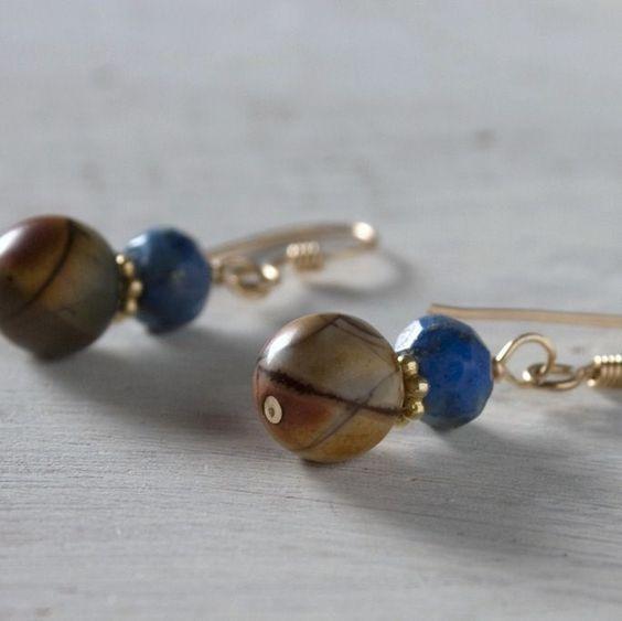 Red Creek Jasper Earrings Lapis Lazuli Gold