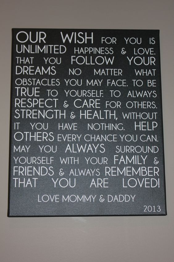 Wall Art Canvas Words : Letter from parents to child on canvas unique custom