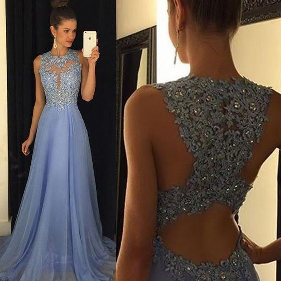 Lavender chiffon prom dresses 2016 lace applique beads a for Crew neck wedding dress