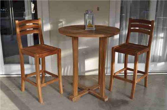 "Anderson Teak 35"" Round Bar Table and Mandalay Bar Chair #modernchair #livingroomchair #modernfurniture #chair"