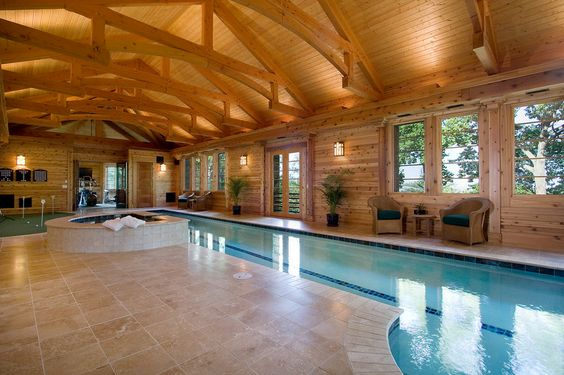 Indoor Swimming Pool ♥ Loved and pinned by wwwdesertpoolsandspas - indoor pool bauen traumhafte schwimmbaeder