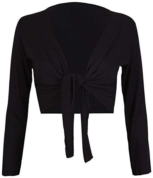 Coolred-Women Long Sleeve Shawl Lace Open Front Cropped Bolero Shrug