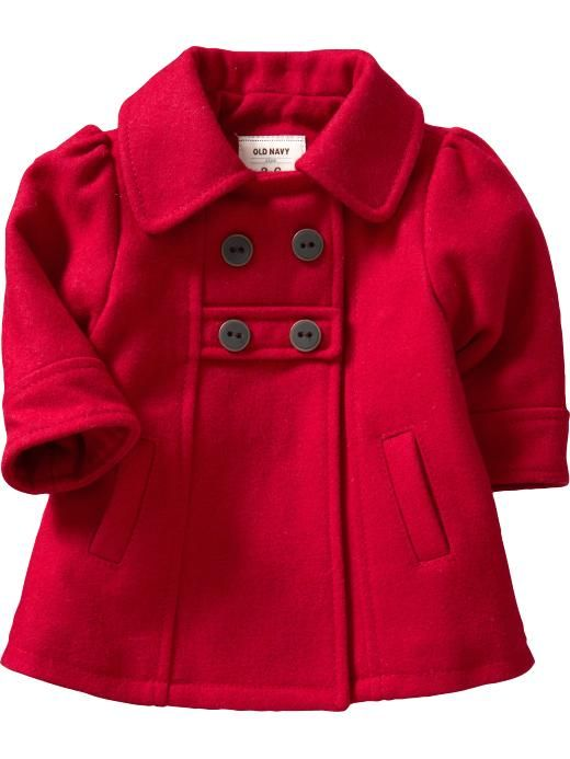 Every baby girl needs a red pea coat! They're just too cute! | For