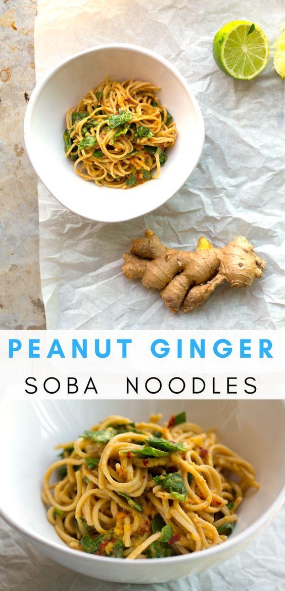 Spicy Peanut-Ginger Soba Noodles - HealthyHappyLife.com