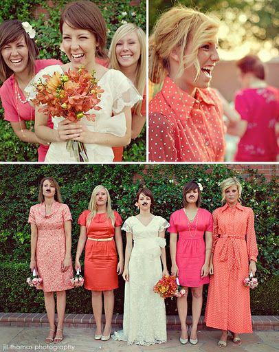 same color scheme, different dresses... digging this idea a lot
