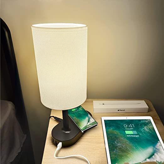 Cozoo Bedside Table Amp Desk Lamp With Wireless Charging Pad And 3 Usb Charging Ports 10w Black Ch In 2021 Wireless Charging Lamp Fabric Shades Bedroom Night Stands