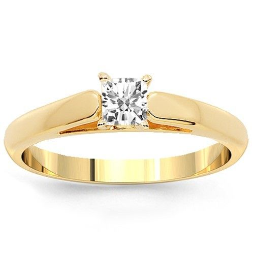 This exquisite diamond solitaire engagement ring is prong set with one brilliant princess cut 0.35 carat diamond. The frame is crafted in 14K yellow gold and weighs 2.5 grams. Measuring 4.5 mm in width, this lovely ring is an ideal gift for that special someone.  $639.00