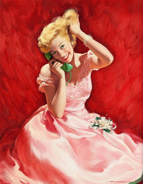The Telephone Call, oil on canvas 23 x 18 in. by Robert G. Harris (American, 1911-2007):
