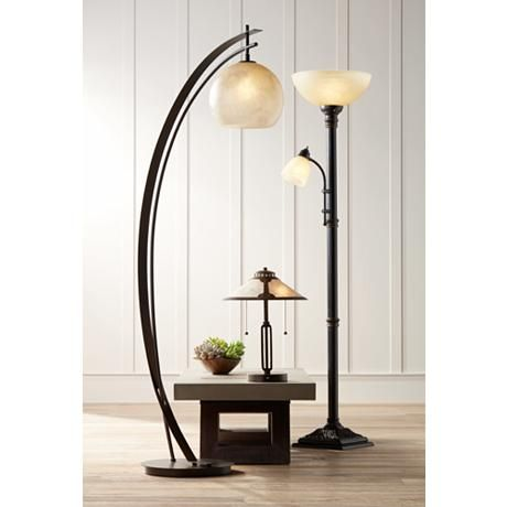 Garver Bronze Torchiere Floor Lamp With Reader Arm 8c397