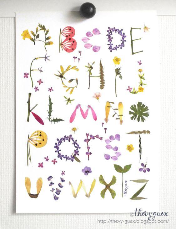 affiche poster alphabet abecedaire illustration herbier With affiche chambre bébé avec achat fleurs jardin