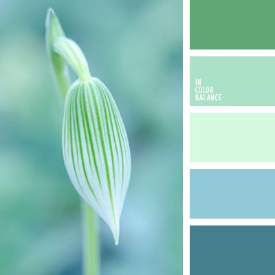 Palette combines color leaving winter cold green and Very light mint green paint