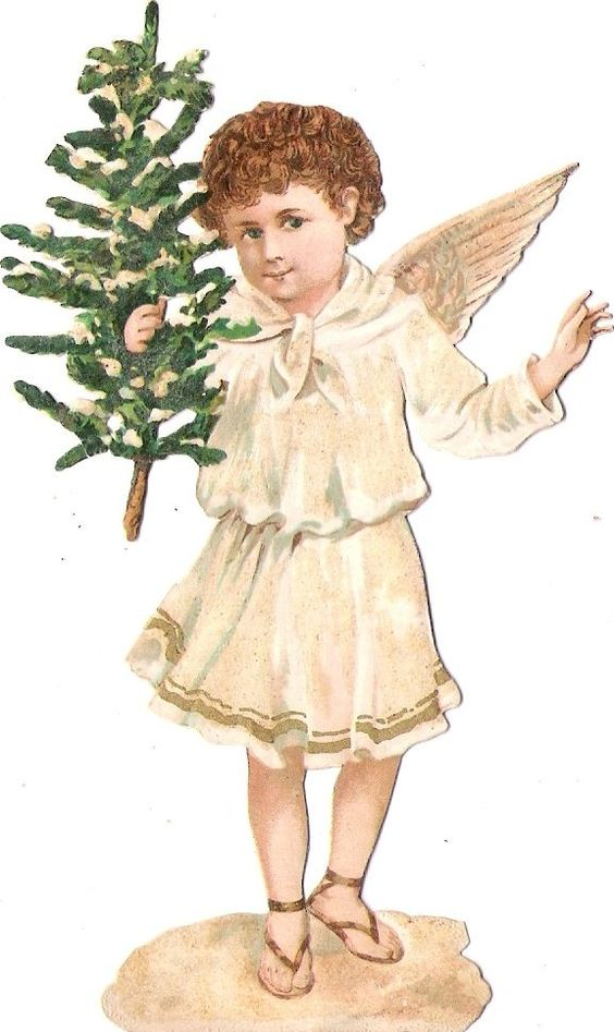Oblaten Glanzbild scrap diecut Winter Engel angel XMAS Weihnacht Baum gold MICA: