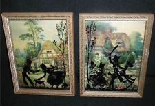 """2 Silhouette Convex Glass RP Pictures~CHILDREN Playing/Thatched Houses~8""""X6"""""""