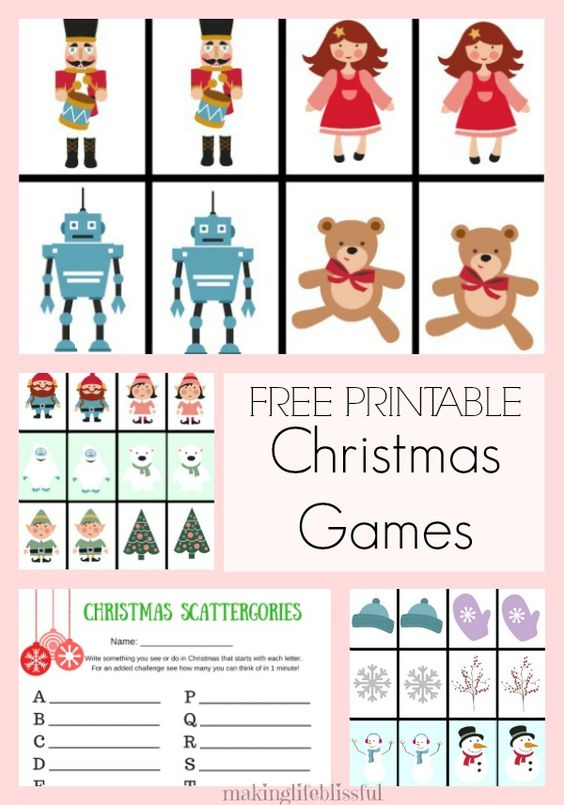 Free Printable Christmas Games for Kids - includes Memory Games and Scattergories! So cute!