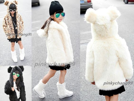 Details about Kids Girl Bear Ears Hooded Winter Soft Warm Fluffy