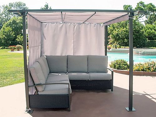Hampton Bay Breeze Cove Patio Sectional Seating Set With Pergola