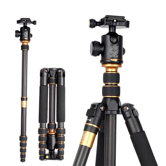 Find More Tripods Information about QZSD Pro Q666C Portable Carbon fiber Tripod…