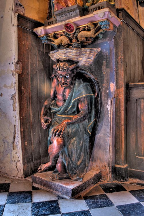 Asmodeus or the Devil in the Rennes-le-Château Church.  Rennes le Chateau is a charming village.: