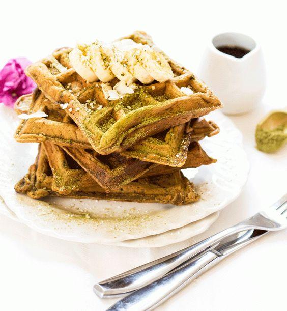 Banana Matcha Waffles