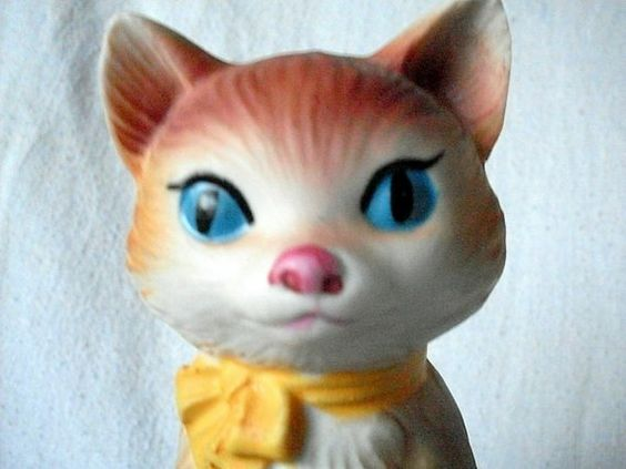 Kitty Cat Music Box Vintage Gorham Japan Porcelain Yellow by ddb7, $12.00