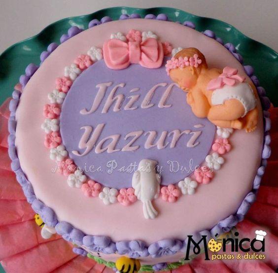 tortita para baby shower de niña,elaborado por MONICA PASTAS Y DULCES.