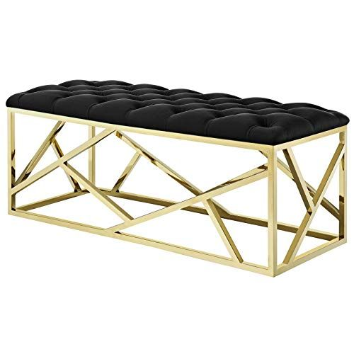 America Luxury Benches Modern Deco Contemporary Living Lounge Accent Chair Bench Velvet Fabric Metal Steel Gold Modern Deco Contemporary Living Chair Bench