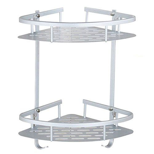 Bathroom Corner Shelves Aluminum Alloy Anodised 2 Tier No Drilling Diy Shower Caddy Shelf Bath Rack Storage Bathroom Shelves Kitchen Wall Rack Shower Storage