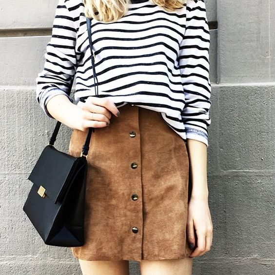 Black&White Striped Top + Suede Skirt + Black Handbag // tiphainemarie_ on…