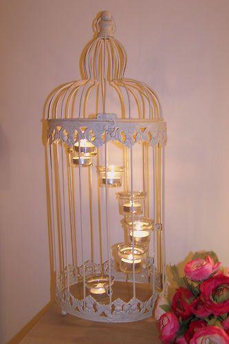 VINTAGE CREAM BIRD CAGE WEDDING TEA LIGHT HOLDER SHABBY CHIC GARDEN LANTERN | eBay