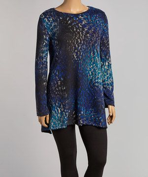 Look at this #zulilyfind! Allie & Rob Blue & Black Abstract Top - Plus by Allie & Rob #zulilyfinds