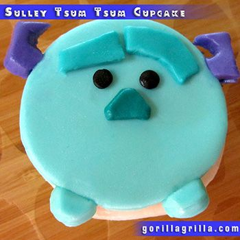 Sulley is on of my favorite Disney characters! This Sulley Tsum Tsum Cupcake is made with a deliciously moist cherry chip cupcake, representing Monster Inc Cupcakes!