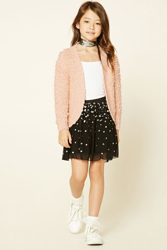 Forever 21 Girls - A midweight loop knit cardigan featuring an open-front and long sleeves.