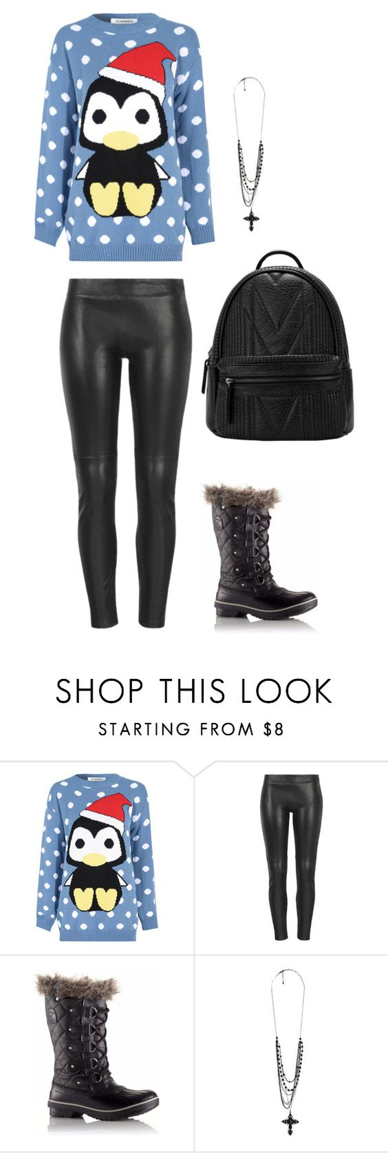 """Edgy Christmas"" by agdancer10 ❤ liked on Polyvore featuring Glamorous, MuuBaa, SOREL and Forever 21"