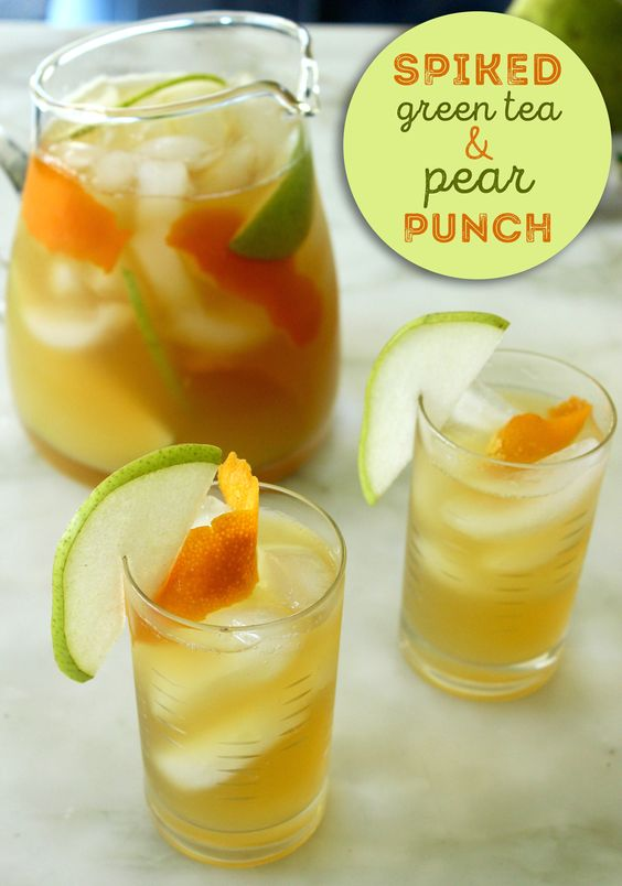 Green teas pears and punch on pinterest for Green cocktails with vodka