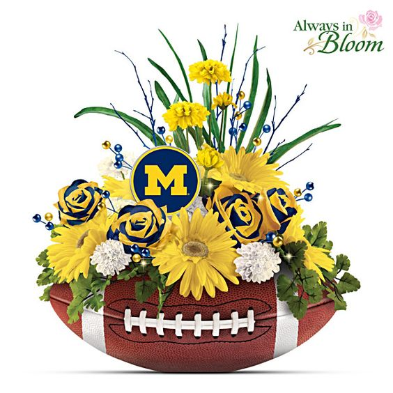 Wolverines Blooming With Fan Pride Table Centerpiece