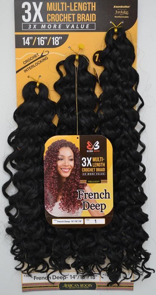 141618 French Deep 3x Multi Length Braid Crochet Hair Bundle Pack