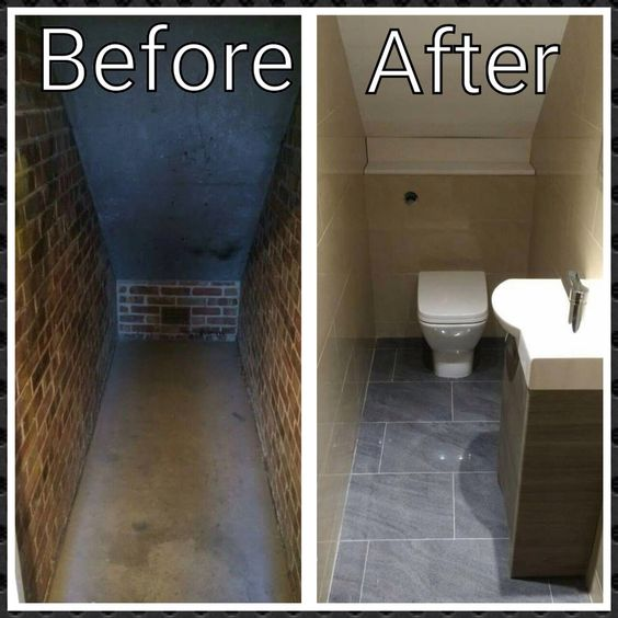 Before and after of under stairs small toilet room closet for Bathroom designs under stairs