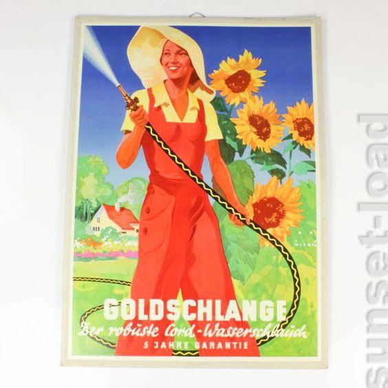 Jupp Wirtz Entwurf, original 30er Jahre Werbung Goldschlange Aufsteller Plakat in Sammeln & Seltenes, Reklame & Werbung, Originalwerbung vor 1950 | eBay