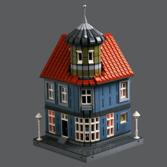 What Lies Inside The Tower Of A Corner Townhouse Lego House Lego Building Lego Design