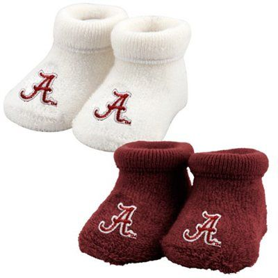 Alabama Crimson Tide White-Crimson Infant 2-Pack Booties