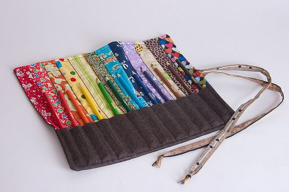 pencil roll - i love the matching colours!