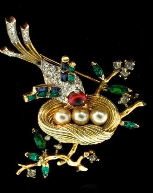 TRIFARI 'Alfred Philippe' Sterling Bird and Nest on a Branch Pin from sharons-sparkles on Ruby Lane
