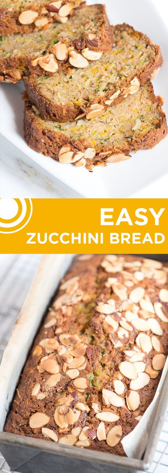 Easy Zucchini Bread Recipe with Almonds - A lightly spiced, perfectly sweetened batter with a whole pound of grated zucchini mixed in.