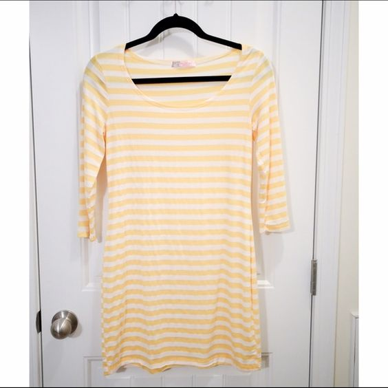Chris & Carol Yellow Striped Dress Yellow and cream striped dress. Cotton. Form fitting. 3/4 sleeves. Short!!! SAYS SIZE LARGE, BUT FITS LIKE A XS/S!!!! Chris & Carol Dresses Mini