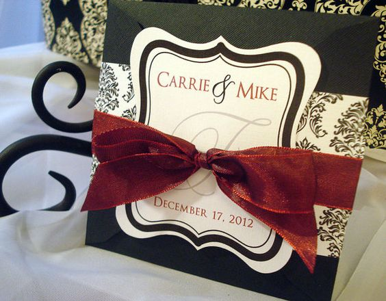 Sangria Wedding Invitations: SLIGHTLY SANGRIA Red, Black And White Damask Square